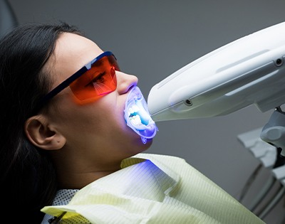 Patient during in-office teeth whitening